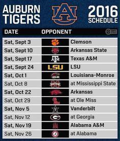 Auburn Tigers: 2016 Football Schedule