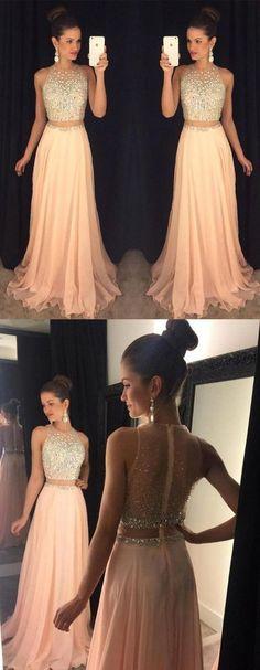 Blush Prom Dresses,2 pieces Prom Dress,Chiffon Prom Dress,Sexy Prom Dress,dresses for prom,fashion prom dress,unique prom dress,CM819