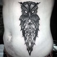 Black Ink Geometric Owl Tattoo On Man Side Belly