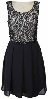 Ladies Lace Pleat Black Chiffon Plus Size Belt Skater Womens Lined Dress 16 26   eBay