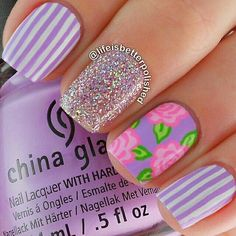 Purple nailart #purple #roses #pinstripes #summer #glitter #nailart