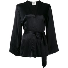Forte Forte belted kimono jacket (1.375 BRL) ❤ liked on Polyvore featuring outerwear, jackets, black, kimono jacket, belted jacket and forte forte