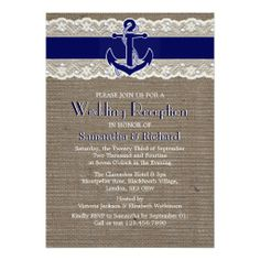 Burlap & Lace Anchor Nautical Wedding Reception