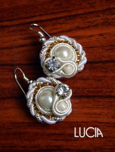 Off-white soutache earrings by LuciaProducts on Etsy