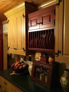 primitive kitchen and dining Primitive Bathrooms, Primitive Kitchen, Primitive Country, Primitive Decor, Elegant Kitchens, Beautiful Kitchens, Unfitted Kitchen, Colonial Kitchen, Kitchen Brick