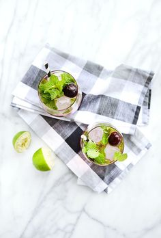 Cherry Mint Mojitos: 3 Simple, Colorful Cocktail Recipes for Last Minute Entertaining #theeverygirl