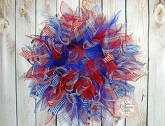 Red White and Blue Deco Mesh Wreath  by NOLACraftsbyDesign on Etsy