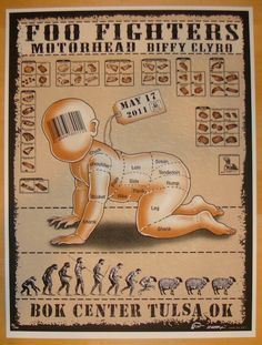 Foo Fighters w/ Motorhead and Biffy Clyro - silkscreen concert poster (click image for more detail) Artist: EMEK Venue: BOK Center Location: Tulsa, OK Concert Date: 5/7/2011 Edition: 200; signed, numb