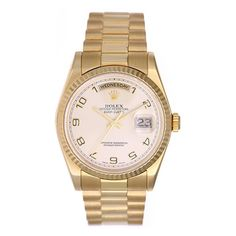 Rolex yellow gold Champagne Dial President Day-Date Wristwatch Ref 118238    From a unique collection of vintage wrist watches at https://www.1stdibs.com/jewelry/watches/wrist-watches/