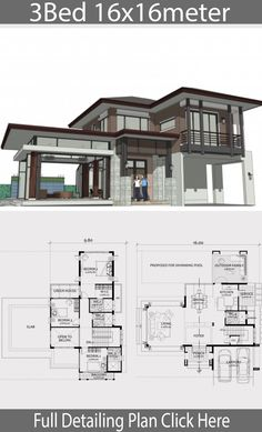 Home design plan with 3 bedrooms Home Ideas is part of House design - Home design plan with 3 bedrooms A twostorey house in a modern, tropical style Modern shape Latent with details of tropical architecture Beach House Plans, Family House Plans, Dream House Plans, Bedroom House Plans, House Floor Plans, Home Building Design, Home Design Floor Plans, Building A House, Residential Building Plan