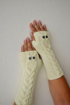 Owl Beige Long Gloves, Hand Knit Mittens, Fingerless Gloves, Woman Arm Warmers