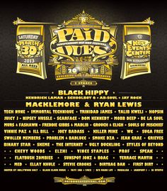 Paid Dues 2013 FULL LINEUP Announced!
