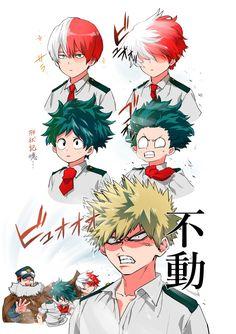Boku no Hero Academia    Todoroki Shouto, Midoriya Izuku, Inasa Yoarashi, Katsuki Bakugou.