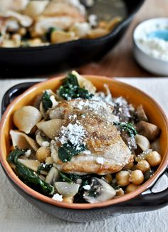 Chicken kale + chickpea skillet