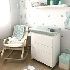 Habitación de bebé bonita y original en tonos mint - Minimoi (@mjrote) Mint Baby Rooms, Baby Boy Rooms, Childrens Room Decor, Baby Room Decor, Baby Bedroom, Nursery Room, Ikea Kids, Baby Room Design, Dream Baby