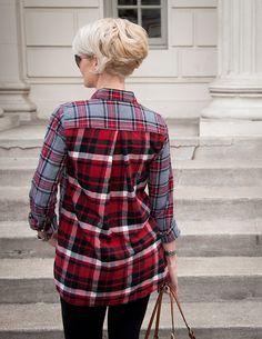Patched Plaid flannel Shirt DIY