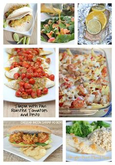 Some of my family's Favorite Fish recipes including Copycat Penne Rustica from Macaroni Grill, Grilled Citrus Salmon Packets, Tilapia with Pan Roasted Tomatoes & Pesto Sauce and more!  | 5DollarDinners.com