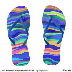 Cool Abstract Wavy Stripes Blue Flip Flops Blue Flip Flops, Summer Accessories, Diy Face Mask, Dog Design, Flipping, Blue Stripes, Abstract, Cool Stuff, Style