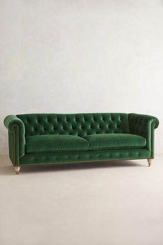 Sofá   Lyre Chesterfield  de terciopelo verde esmeralda, respaldo capitoné