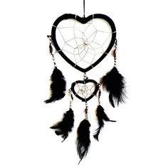 Handmade Heart-shaped Dream Catcher (With a Betterdecor Gift Bag) - Handmade Dream Catcher Price, Dream Catchers For Sale, Black Dream Catcher, Luxury Bedroom Sets, Dream Catcher Native American, Native American Artists, Black Heart, Decoration, Christmas Lights