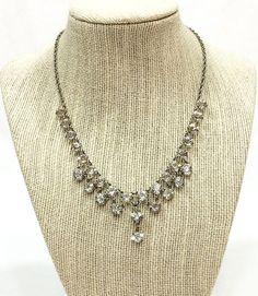 Art Deco Necklace Rock Crystal Dangle Necklace Rhodium