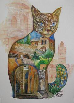 Chat à Jerusalem - Painting,  29,7x40 cm ©2006 von Oxana Zaika -  Malerei