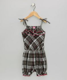 Take a look at this Black & Pink Plaid Ruffle Romper - Toddler & Girls by Lele for Kids on #zulily today!