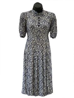 1940s Navy & White Floral Dress