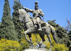 Theodoros Kolokotronis, one of the prominent figures of the Greek Revolution against Ottoman Rule in the early century. Sculptures, Lion Sculpture, Greek History, Major Events, Greeks, Macedonia, Antiquities, Statues, 19th Century