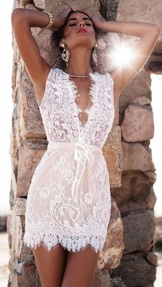 Laced white mini dress | elegant style