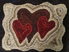 Primitive Folk Art Hand Hooked Rug Heart Valentine Spring Americana Farm House