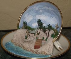 Day at the beach in a teacup and saucer