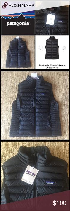Patagonia Women's XL Down Sweater Vest in Black 🆕 Brand new with tags. The ultimate quality from Patagonia. In Patagonia website sold for 175.00 in black. Great find. One interior zip pocket, two exterior zip pockets, great fit. Women's XL. Will ship within 24 hours. Price firm. Patagonia Jackets & Coats Vests