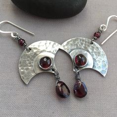 Oxidized Silver Earrings with Garnet gemstones.