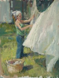 Saturday Chores, painting by artist Robin Cheers | Washer Odor? | Sour Smelling Towels? | Stinky Clean Laundry? | http://WasherFan.com | Permanently Eliminate or Prevent Washer & Laundry Odor with Washer Fan™ Breeze™ |#Laundry #WasherOdor