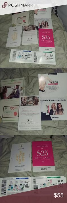 Huge bundle of a variety of coupons fr $5-40 off Huge bundle of coupons for sale one is 4 bits 31 bits for $25 off and the other one is for besties for $5 off another one is for Sweet & Spark jewelry for $40 off another one is 15% off with free shipping to the edit another one is for $35 off of hello fresh plus there are coupons in there buy one get one free and a dollar fifty off off of  sent and another one is a coupon for a wine voucher are Sterling forever $30 more questions love bundles…