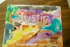 Print kids' names in 175 font.   Then, it is easy to trace over the name with white crayon on a piece of copy paper. I love the results when the kids painted with watercolor over the white crayon.