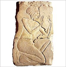 Limestone relief found near the Great Aten Temple. It depicts a man kneeling in an attitude of adoration. Now in the Egyptian Museum, Cairo, JE 59296