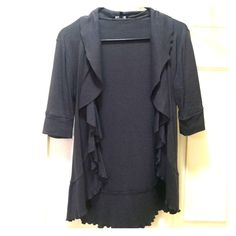 Express size S gray shrug Worn a few times hardly any signs of use. Just don't wear it anymore! Size small, dark gray open shrug. Express Tops