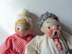Russian Toy Cossack Folk Dolls - Emelya the Fool, Fool's Father  USSR Vintage 1960's RARE