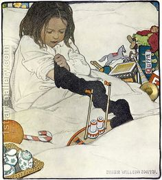 Jessie Wilcox-Smith: Opening the Christmas Stocking, 1902