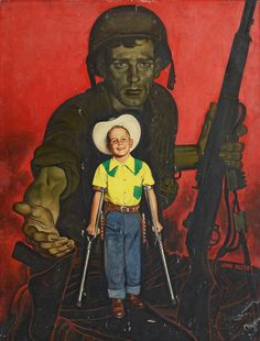 From Battling Polio to Combat Battle ~ 1940s illustration of WWII soldier, John Philip Falter.