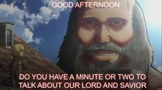 「こんにちは、あなたは私たちの主と救世主、レビアッカーマンについて話をするには、1〜2分を持っているのですか?」