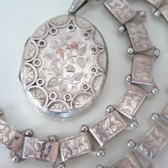 Antique Victorian Silver Tri Color Bookchain Book Chain Locket Necklace