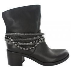 Fitzpatrick's shoes beautiful Italian leather short boot with a 5 line band of diamonds and studs, which is detachable. Available in black leather and black suede.