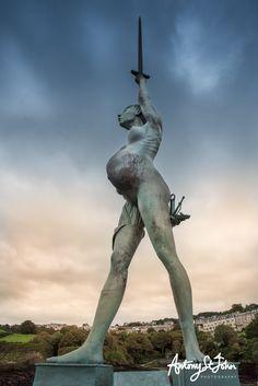Damien Hirsts Verity Golden Coast, North Devon, Damien Hirst, Antony Gormley, Architect Design, Garden Sculpture, Sculptures, Statue, Outdoor Decor