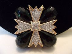 Excited to share the latest addition to my #etsy shop: KJL Kenneth J Lane Gothic #maltese Cross Brooch Black Glass Rhinestone Gold Plate Vintage Pin Pendant http://etsy.me/2EuzOdP #jewelry #brooch #black #clear #birthday #geometric #no #plastic #cubiczirconia