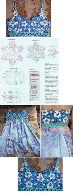 Crochet detail./ Solero de tela con canesu tejido.