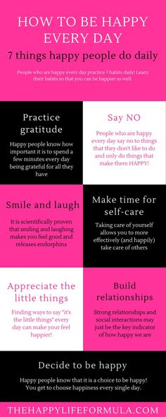 The seven things that happy people do daily! Click through to read in more detail how you can apply each of these areas to your life to start being happy every day! Happiness hacks, happy life, self-care, gratitude, decide to be happy, appreciate the litt