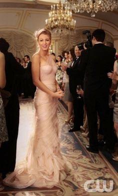 """Serena Van Der Woodsen for the first Blair's wedding...it's actually a Vera Wang """"Farrah"""" wedding dress."""